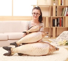 New 3D Simulation Grass Carp Pillow PP Stuffed Plush Animal Fish Toy Children Birthday Gift 1pcs