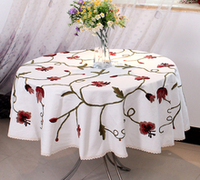 #245 round square embroidery hot sale table cloth tablecloth mat dinner cover cotton&linen lace letter freeshipping