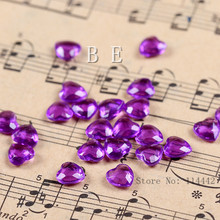 2000pcs/lot 6mm ( 1 Carat ) Acrylic Purple Heart Crystals Table Scatter Heart Tip Back Confetti wedding Valentine Decoration
