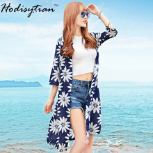 Hodisytian New Fashion Women Shirts Casual Chiffon Long Loose Summer Beach Blouse Sunflower Print Blusas Camisa Femme Cardigan