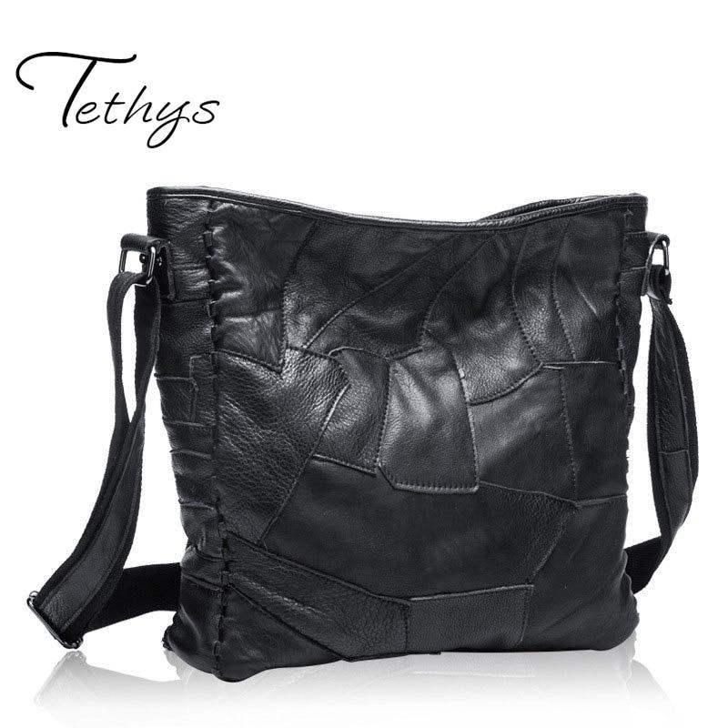 2017 New Women Genuine Leather Handbag Sheepskin Women Shoulder Bag Patchwork Bag Luxury Handbags Ladies Tote<br><br>Aliexpress