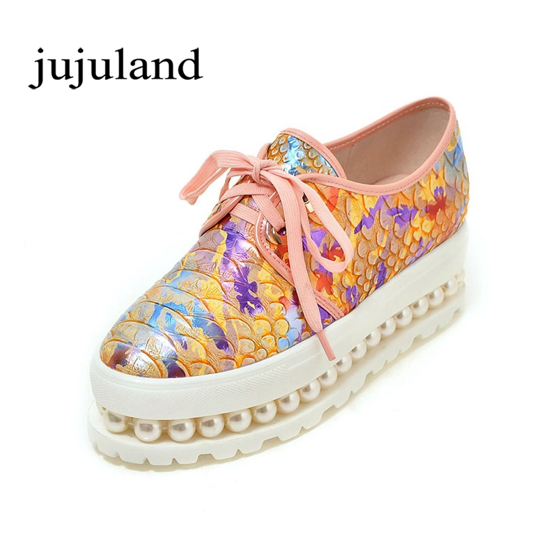 Spring/Autumn Women Flats Womens Shoes Flat Platform Casual Fashion Print Flower Lace-Up Round Toe Microfiber<br>