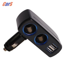 80W Dual USB Car Charger Splitter 3.1A 12V/24V Universal Cigarette Lighter White Black car accessories(China)