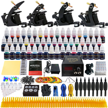 Beginner Starter Complete Tattoo Kit Professional Tattoo Machine Kit Rotary Machine Guns 54 Inks Power Supply Grips Set  TK457