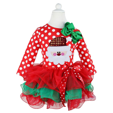 Little Baby Toddler Girl Dress Fancy Santa Xmas Clothes Red Happy Merry Christmas Tutu Dresses For Girls Kids Ball Party Wear(China)