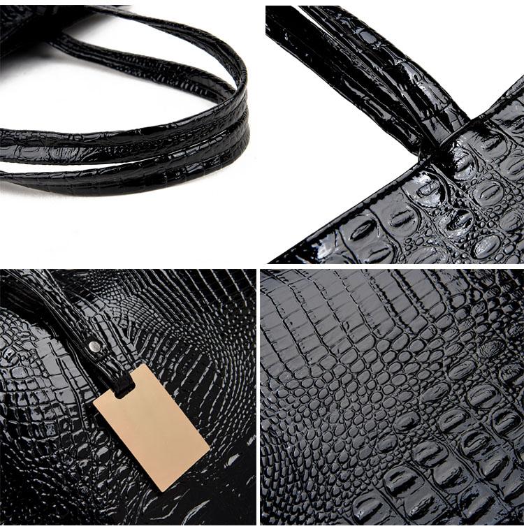 Brand Fashion Casual Women Shoulder Bags Silver Gold Black Crocodile Handbag PU Leather Female Big Tote Bag Ladies Hand Bags Sac 6