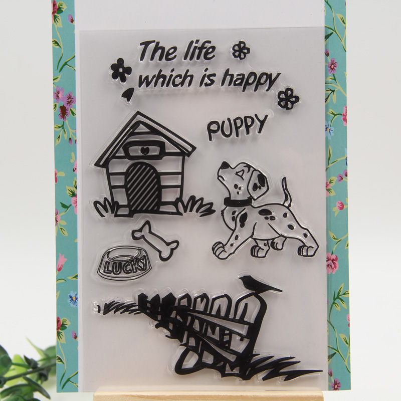 1 sheet DIY Lucky Dog Design Clear Silicone Stamp for DIY scrapbooking/photo album Decorative craft<br><br>Aliexpress