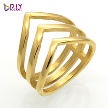 Hot Sale Wedding Jewelry Ring Fashion Men Women Jewelry Party Trendy Stainless Steel 3 Layers V Shape Design Nail Ring(China)