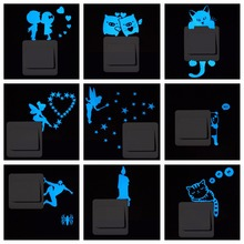 Blue-light Luminous Switch Sticker Home Decor Cartoon Glowing Wall Stickers Dark Glow Decoration Sticker, Cat/Fairy/Moon Stars..
