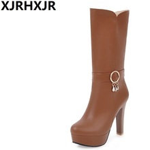XJRHXJR Sexy Platform Riding Boots Women's Shoes Winter Warm High Heels Fashion Round Toe Mid Calf Leather Dress Boots Big Size(China)