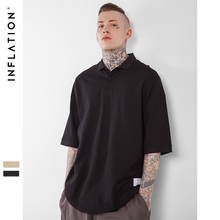 INFLATION 2017 Latest t shirts Turn-down Collar Oversized Men T-Shirts Printed t shirts Hip Hop Clothing Urban Fashion Clothing(China)