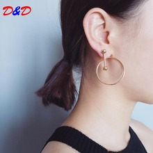 The New Arrival Tin Alloy Geometric Women New Spring And Summer 2017 Hollow Swing Ring Geometry Design Simple Circle Earrings