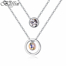 Free shipping  high quality double Necklaces&Pendants Crystals From Swarovski Elements for Women Valentine's Day Gift