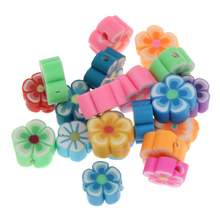 100PCs/Bag handmade Jewelry flower Beads diy making mix color Polymer Clay necklaces making(China)