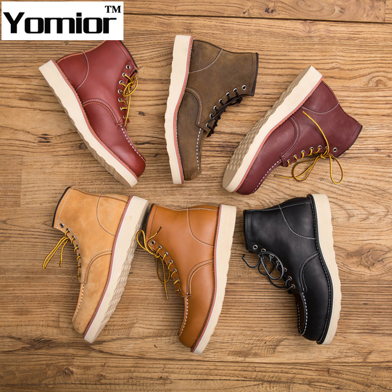 Genuine Leather Man Boot Winter Men Red Boots Ankle Shoes Wing Warm Snow Outdoor Work Martin Cowboy Motorcycle Heel Male Lace-up<br><br>Aliexpress