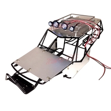 1/10 SCALE RC AXIAL WRAITH METAL ROLL CAGE FRAME BODY WITH ROOF RACK AND METAL SHEETS BLACK(China)