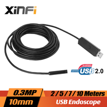 XINFICAM 10mm 0.3MP USB Endoscope 2/5/7/10M cable mini camera Borescope for PC windows sewer pipe Snake Camera car inspection(China)