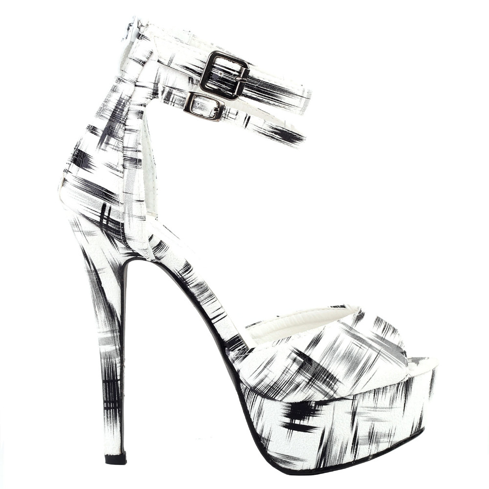LF80105 Black White DOrsay 2 Ankle Straps Platform Stiletto Sandals Size 4/5/6/7/8/9/10<br>