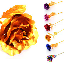 1 Piece New Gold Foil Plated Rose Flower Handcrafted Dipped Long Stem Flower for Lovers Wedding Decor Propose Gift P30