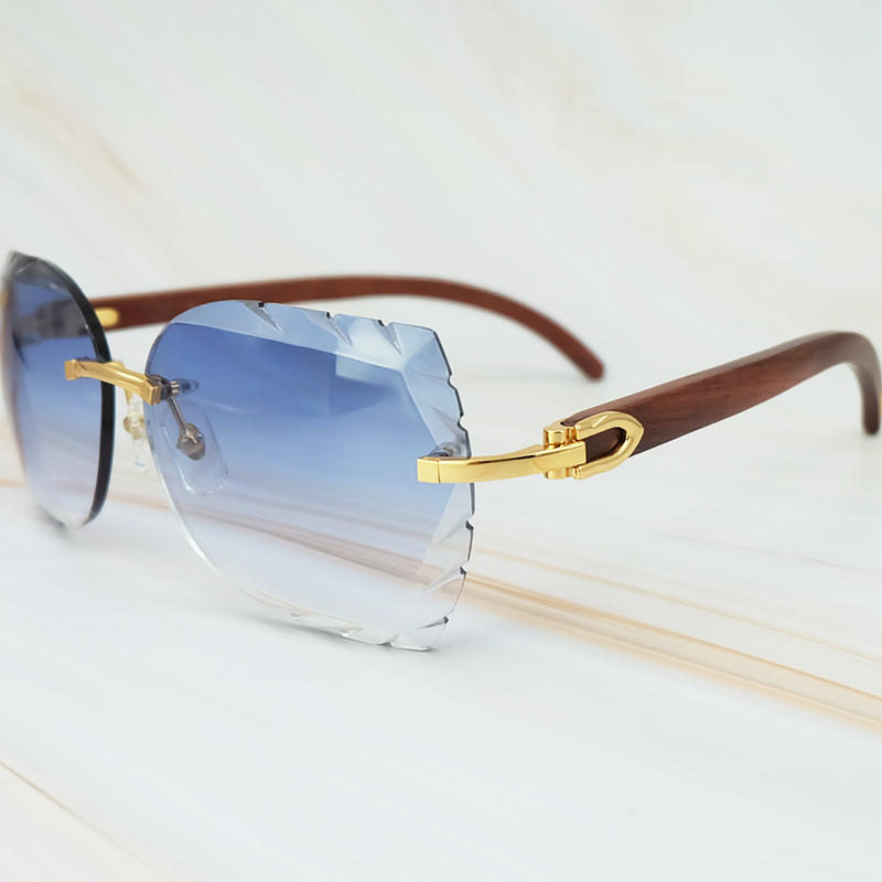 Rimless 3mm Thick Gradient Blue Lens Square Designer Brand Name Carter Sunglasses Wholesale Maroon Wood Sun Glass Wooden Shade (2)