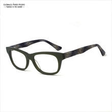 Italy Design Men Acetate Glasses Frame Green Frame Marble Grain Tip Spring Hinge Eyewear/Eyeglasses/Prescription Frames Z010