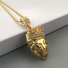 Men's Fashion Crown Lion Head Pendant Necklace Luxury Collar Jewelry