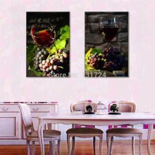 Unframed 2-piece Red Wine and Grapes Pictures Printed on Canvas Giclee Artwork Painting for Dining Room Decor Modern Wall Gifts(China)
