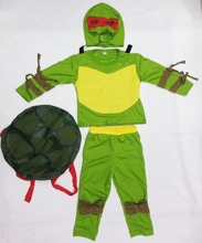 Green 3-7 years Cosplay Party boy role play clothing kid leo/Ninja Halloween Costume (Turtle shell can be activity)