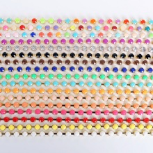 Discount 3m/lot 6mm Mixed color Rhinestone Chain Acrylic Rhinestone Chain Sew on Cup chain for DIY clothing ornament accessories