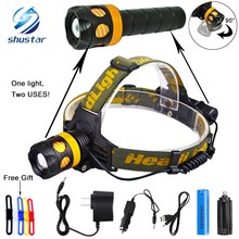 RU 5000Lumens Detachable Headlamp becomes flashlight CREE XML-L2/T6 Zoomable Headlight Waterproof Head Torch Give free gift