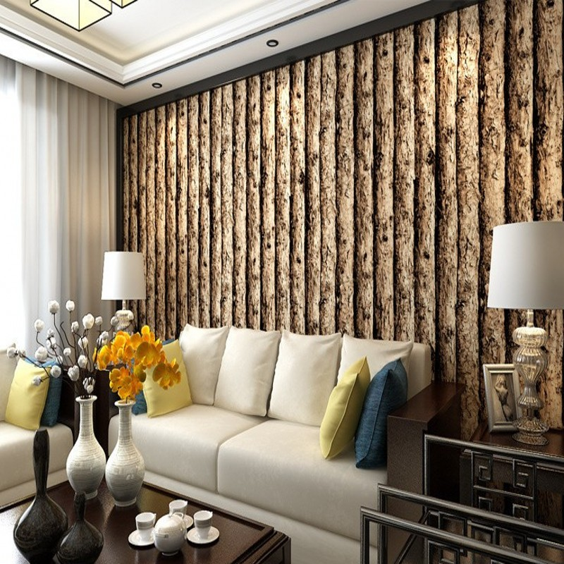 Free Shipping Features 3D Stereo Imitation Tree Striped Wallpaper Garment Shop Restaurant Corridor Wooden  Wallpaper<br>