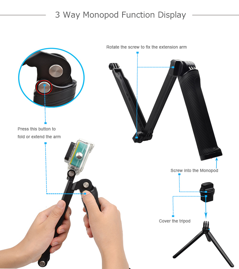 Steps to use 3 way monopod