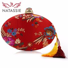 Natassie Red Women Embroidery Craft Bridal Clutch Evening Bag Flower Pattern Diamond Purse Handbag With Metal Shoulder Chain