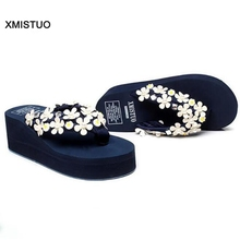 Sweet Flowers Decoration Sandals Women Fashion Increasing Height Womens Shoes Heels and Wedges Casual Beach Sandal Wedding Shoes