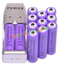 12x AA 2A Purple Color 1.2V Ni-MH 3000mAh Rechargeable Battery + USB Charger(China)