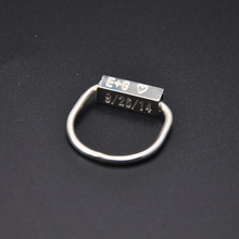 Wholesale 925 Sterling Silver Bar Ring 3D Cube Engraving Ring Name Date Stamp Custom Ring Personalized Design Ring Gift