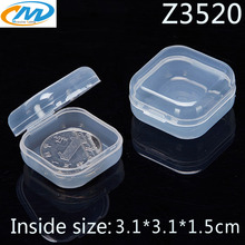 Wholesale 100pcs Clear Plastic Box Coin Holder Capsules Container Chip Jewel Square Storage box Transparent Display cases(China)