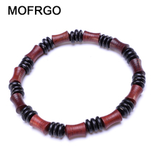 MOFRGO Simple Vintage Wood Bead Women Bracelet Wooden Bamboo Shape Red Black Beaded Chinese Style Meditation Wristband Men Yoga(China)
