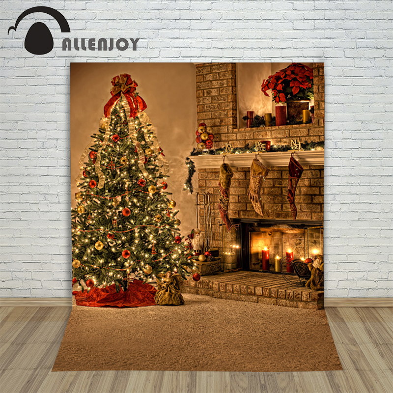 Christmas background pictures vinyl Tree fireplace with gift balls child photocall new Year decoration photo studio backdrop<br><br>Aliexpress