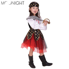 MOONIGHTFantasia Halloween Christmas Pirate Costumes Girls Party Dress Cosplay Costume for Kids Clothes Game Uniforms with Scarf