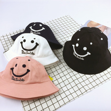 2017 Embroidery Letter Smiling Face Child Summer hat Bucket Style Sun Hat for Girls Boys Kids Children Bucket Hat