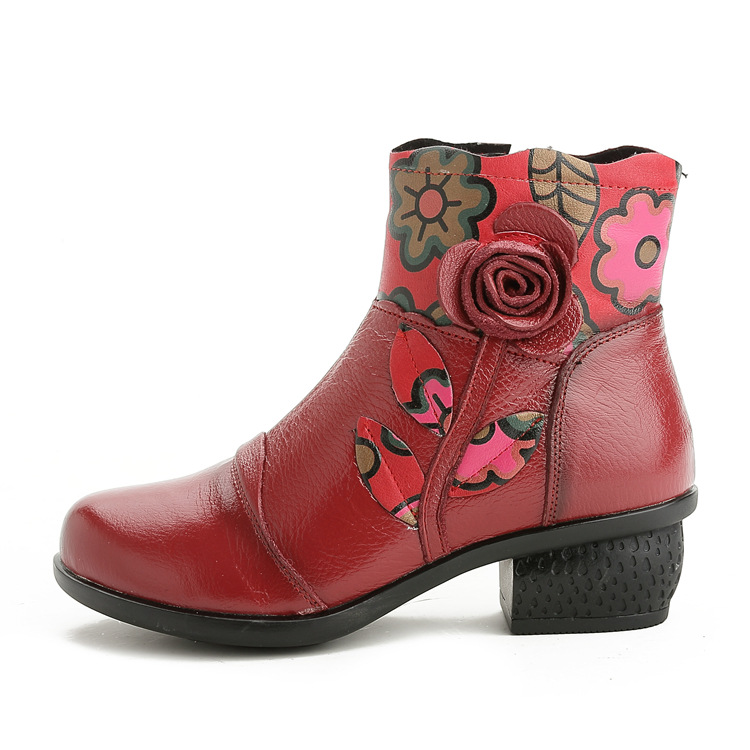 2017 winter new handmade casual cotton plus cotton retro first layer of leather women boots floral leather shoes women.ZFL-8616<br>