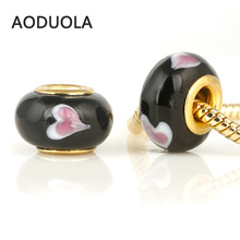 10 Pcs a Lot Black Glass Beads Round Gold With Pink Heart Lampwork Czech Big Hole Bead Charm Fit For Pandora Charms Bracelets