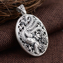 FNJ 925 Silver Phoenix Pendant Oval Shape 100% Pure S925 Solid Thai Silver Pendants for Women Men Jewelry Making(China)
