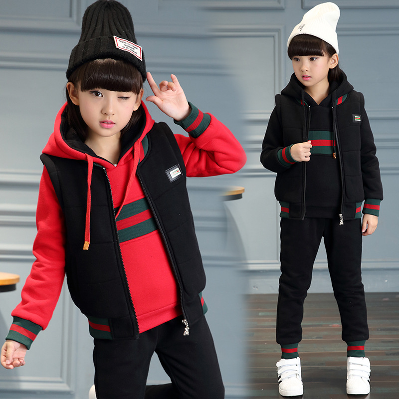 New winter clothing for boys and girls cotton suit three-piece suit<br>