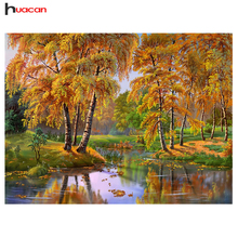 HUACAN Weeping Willow Diamond Embroidery Diy Diamond Pattern Full Square Russia Landscape Bead Work Decorative Modern Crafts