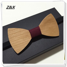 Z&X  Hot Fashion men wooden bowtie Accessory wedding Event hard cherry wood Wooden Bow Tie For Men Butterfly Neck Ties
