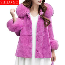 SHILO GO New Fashion Street Women's Real Fox Fur Collar Hooded Hair Whole Rabbit Fur Coat Ladies Concise Fur Coat Good Quality