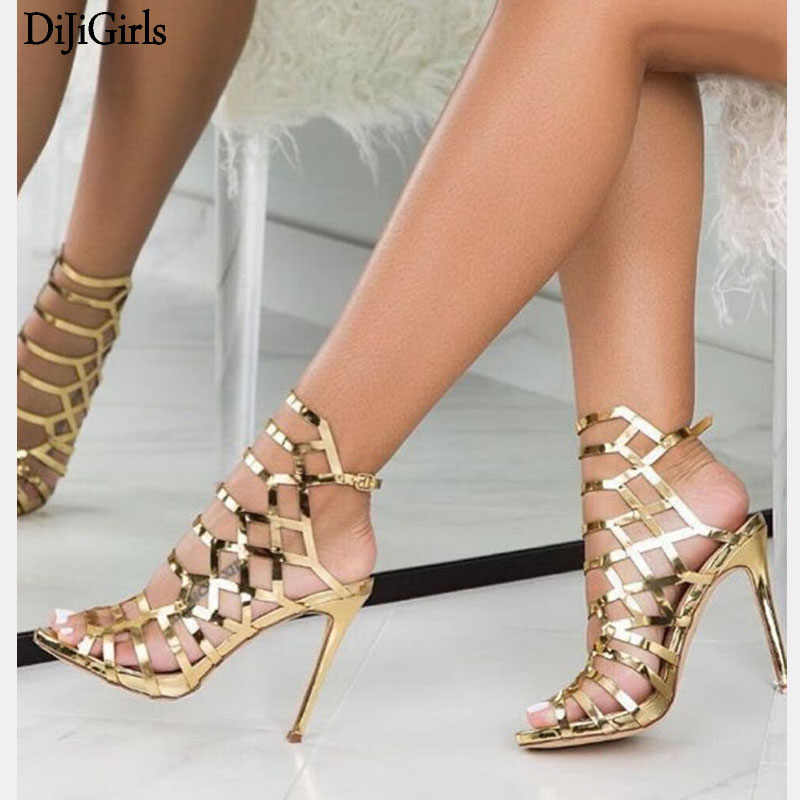 13cm High Sandals 2019 Women Sandals High Heels Hollow Out Gladiator Sandals  Patent Leather Golden Party fab9c2d15def