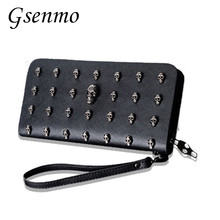 Skull Rivet PUNK Style Designer wallet Women Rock Hip Hop Style Purse Women Wallets 2017NEW Zip PU Leather Clutches Walet(China)